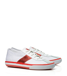 White/burnt Coral Tory Burch Simple Stripe Tennis Shoe