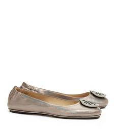 Gunmetal Tory Burch Minnie Travel Ballet Flat With Logo, Metallic Leather