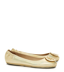 Gold Tory Burch Minnie Travel Ballet Flat With Logo, Metallic Leather