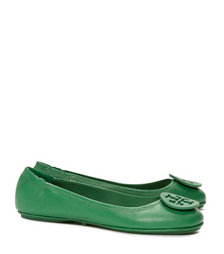 Emerald Stone Tory Burch Minnie Travel Ballet Flat With Logo, Leather