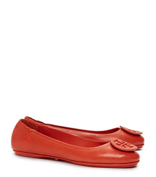Poppy Red Tory Burch Minnie Travel Ballet Flat With Logo, Leather