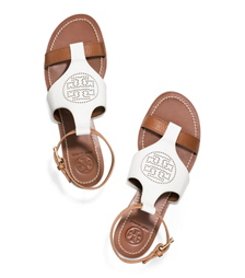 Ivory/royal Tan Tory Burch Perforated Logo Flat Sandal