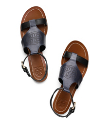 Tory Navy/black Tory Burch Perforated Logo Flat Sandal