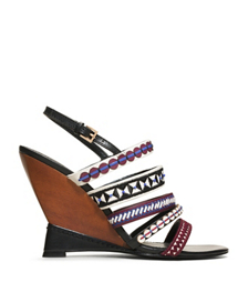 Tory Burch Mixed Trims Wedge Sandal