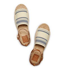 Awning Ivory-blue Haven/royal Tan Tory Burch Stripe Elastic Espadrille Sandal