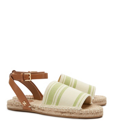 Awning Ivory-summer Olive/royal Tan Tory Burch Stripe Elastic Espadrille Sandal