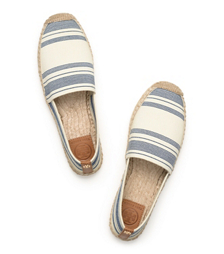 Awning Ivory-blue Haven/royal Tan Tory Burch Stripe Elastic Espadrille