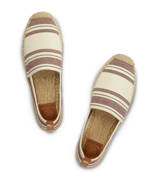 Awning Ivory-dark Plum/royal Tan Tory Burch Stripe Elastic Espadrille