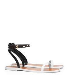 Ivory/tory Navy/coconut/ivory Tory Burch Leather Ankle-strap Flat Jelly Sandal