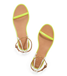 Fluo Yellow/ivory/royal Tan/fl Tory Burch Leather Ankle-strap Flat Jelly Sandal