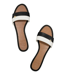 Ivory/black Tory Burch Bi-color Flat Slide