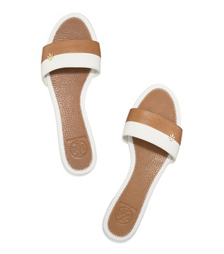 Ivory/royal Tan Tory Burch Bi-color Flat Slide