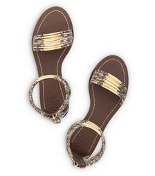 Tory Burch Mignon Snake-print Rings Flat Sandal