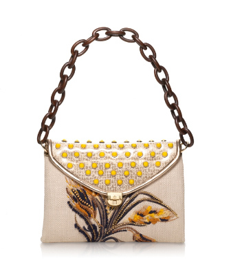 Tory Burch Maddie Wheat Embroidered Shoulder Bag