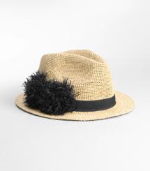 Raffia Pom Pom Hat