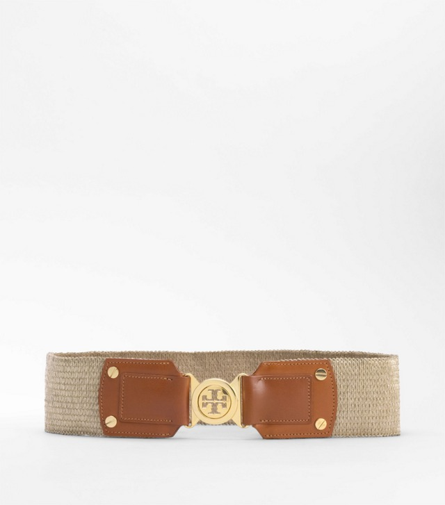 Metallic Stretch Logo Waist Belt