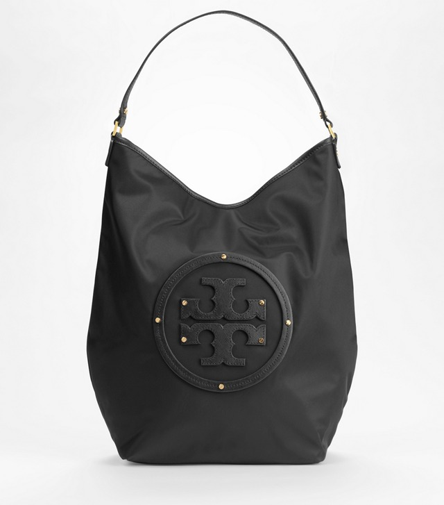 Nylon Stacked Logo Hobo