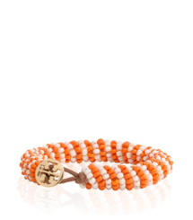 Gold Fish/shore Khaki Tory Burch Dual Color Seed Bead Bracelet