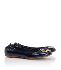 Tory Navy/gold Tory Burch Tumbled Patent Leather Reva Ballet Flat