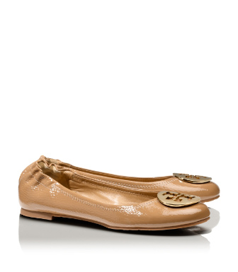 Sand/gold Tory Burch Tumbled Patent Leather Reva Ballet Flat