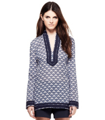 Dark White Quartz Deco Diamonds  Tory Burch Tory Tunic