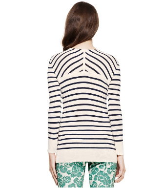 Ivory Classic Sailor Stripe  Tory Burch Polina Sweater