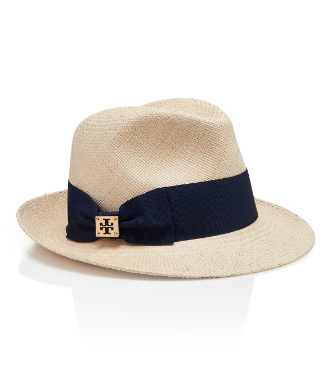 Natural Straw/tory Navy Tory Burch Classic Grosgrain Fedora