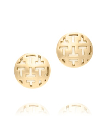 "Ivory Tory Burch Color Frete Tiled ""t"" Button Earring"