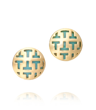 "Mexican Turquoise Tory Burch Color Frete Tiled ""t"" Button Earring"