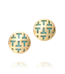 COLOR FRETE TILED T BUTTON EARRING | MEXICAN TURQUOISE | 466