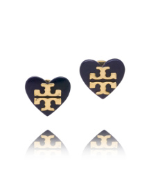 Evening Sky Tory Burch Tilsim Logo Heart Stud Earring