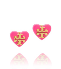 Hot Pink Tory Burch Tilsim Logo Heart Stud Earring