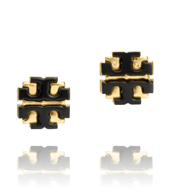 "Black Tory Burch Resin Large ""t"" Logo Stud"