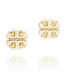 "Ivory Tory Burch Resin Large ""t"" Logo Stud"