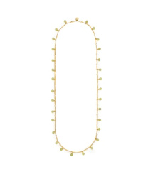 Korean Jade/shiny Gold (light Green) Tory Burch Stone Paillette Rosary Necklace