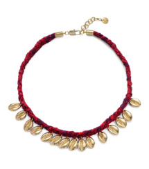 PUKA SHELL WOVEN CHARM SHORT NECKLACE | ROKKO REV E/LIGHT GOLD | 305