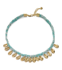 PUKA SHELL WOVEN CHARM SHORT NECKLACE | KARIBO BORDER C/LIGHT GOLD | 604