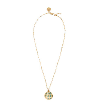 "Mexican Turquoise Tory Burch Color Frete Tiled ""t"" Charm Short Necklace"