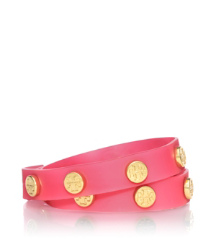 Strawberry Tory Burch Jelly Logo Studded Double Wrap Bracelet