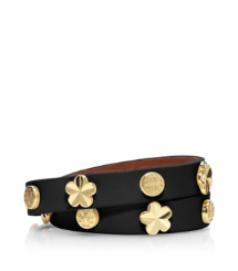 Black Tory Burch Flower Double Wrap Bracelet