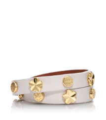 Dark White Quartz Tory Burch Flower Double Wrap Bracelet