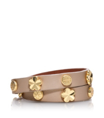 Almond Tory Burch Flower Double Wrap Bracelet