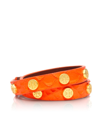 Tory Burch Neon Snake-embossed Logo Studded Double Wrap Bracelet
