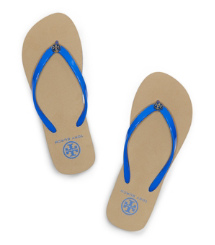 Neon Blue Tory Burch Striped Flip Flop