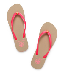 Neon Pink Tory Burch Striped Flip Flop