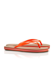 Neon Orange Tory Burch Striped Flip Flop
