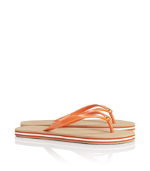 Equestrian Orange Tory Burch Striped Flip Flop