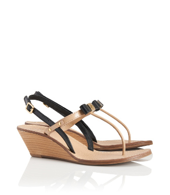 Black/tory Beige Tory Burch Kailey Wedge Thong Sandal