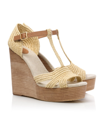 Natural/royal Tan Tory Burch Carina Wedge