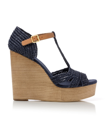 Bright Navy/royal Tan Tory Burch Carina Wedge